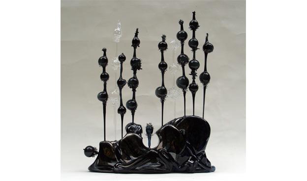 Face aux vents sculpture Fabienne Picaud verre